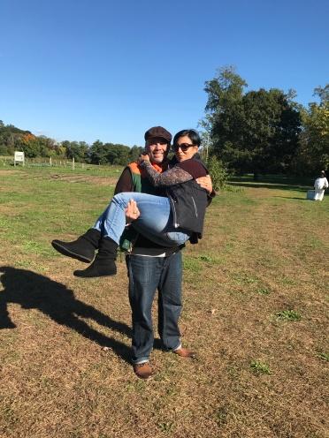 He carries me.